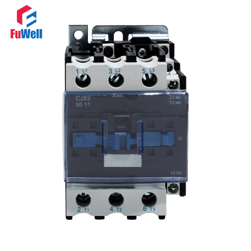 CJX2-5011 50A AC Contactor NO NC Coil Voltage Contactor 24V 36V 110V 220V 380V Normal Open Closed Alternating Current Contactor