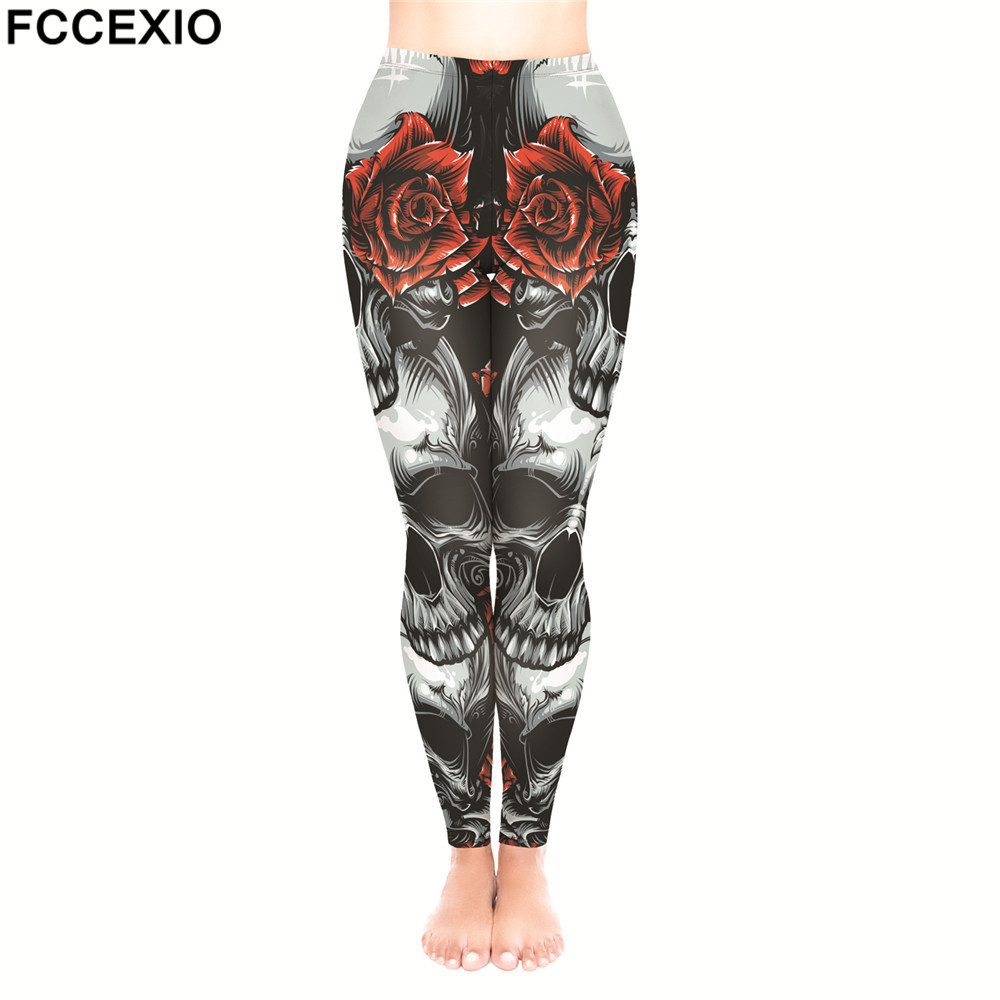 FCCEXIO Big Skull RosesNew Punk Women Legging Gothic Style Trousers Vintage Print Steampunk Leggins Ankle Pants Cosplay Leggings