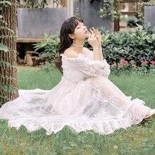 NOVEDAD DE VERANO 2020, vestido de encaje bordado Vintage romántico para chica Lolita para boda, Vestidos de graduación sin tirantes elegantes de noche con cuello oblicuo