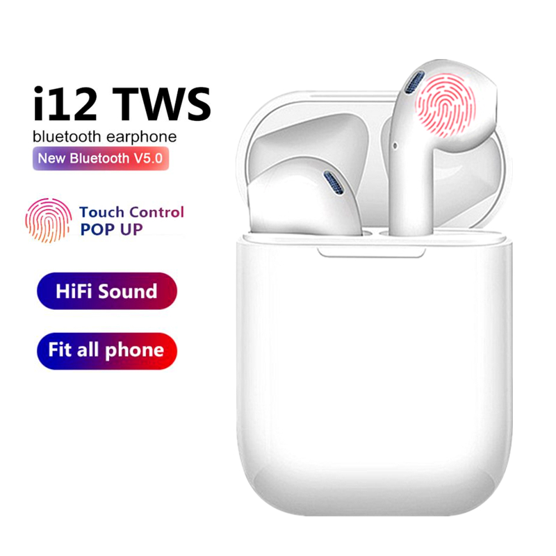 TWS Wireless Earphones I12 Touch Control Bluetooth 5.0 3D Super Bass Pods Headphones For IPhone Xiaomi Smart Phone