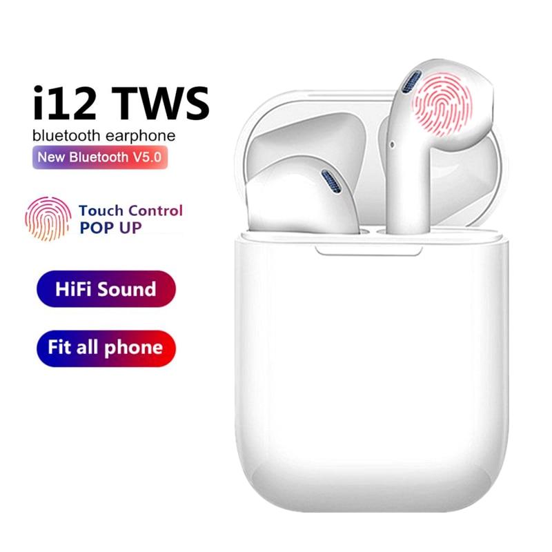 TWS Wireless Earphones i12 Touch Control Bluetooth 5.0 3D Super Bass Pods Headphones For iPhone Xiaomi Smart Phone