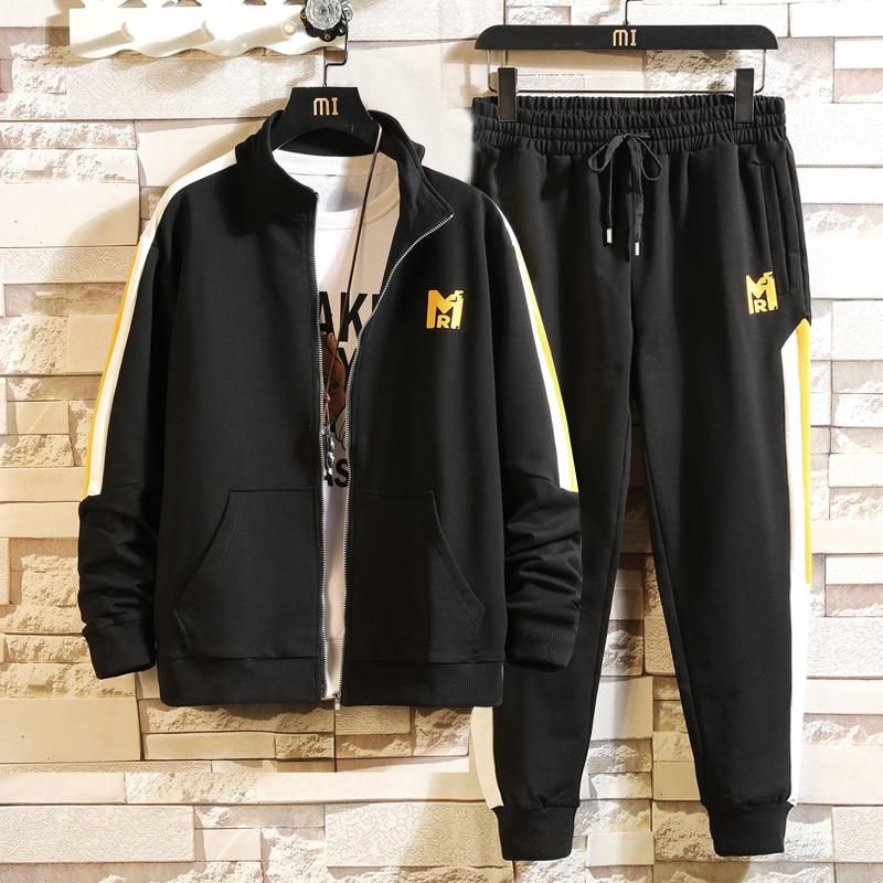Solid Tracksuit For Men Two Pieces New Fashion Sweat Men Winter Track Suit Sports Tuta Sportiva Uomo Sportswear Pants Men HH50TZ