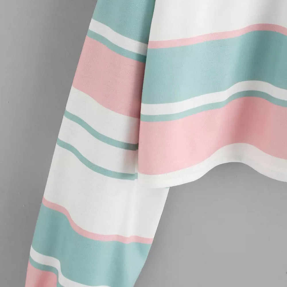 Áo Khoác Nữ Thu Đông 2019 Cầu Vồng Miếng Dán Cường Lực Nút Turndown Harajuku Dạo Phố Thời Trang Crop Top Áo Hoodie Quần Tây Nữ # Y7