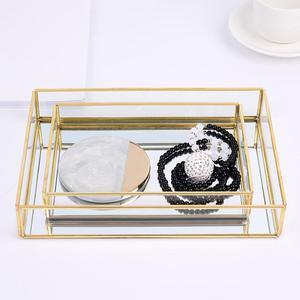 Нордический Ретро лоток для хранения золотого прямоугольного стекла органайзер для макияжа лоток десертная тарелка для макияжа Ювелирное ...