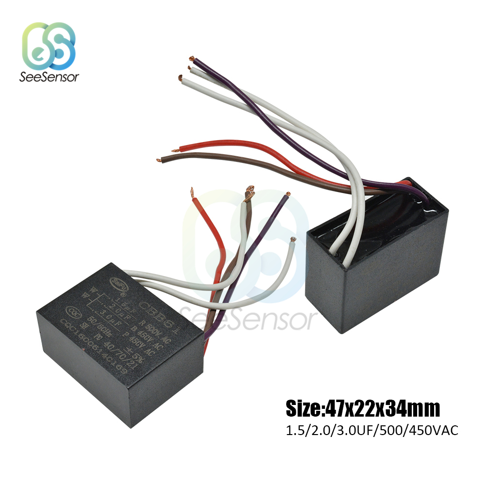 Twin Cable 2.5uF Motor Run Capacitor 450V