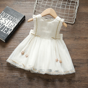 summer girls dress lace chiffon children clothing girl princess dress kids clothes ball gown with stars white 0-5Y