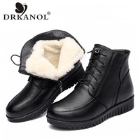 DRKANOL 2019 Women Winter Snow Boots Classic Black Genuine Leather Thick Wool Fur Warm Ankle Boots Low Heel Shoes Women Boots