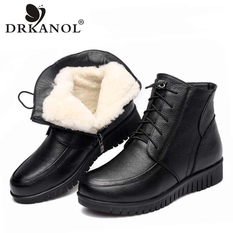DRKANOL 2019 kadın kış kar botları klasik siyah hakiki deri kalın yün kürk sıcak yarım çizmeler düşük topuk ayakkabı kadın botları