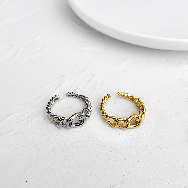 Peri'sBox Wide Open Adjustable Link Rings Small Irregular Gold Silver Color Chain Rings Hip Hop Trendy Chunky Rings for Couple