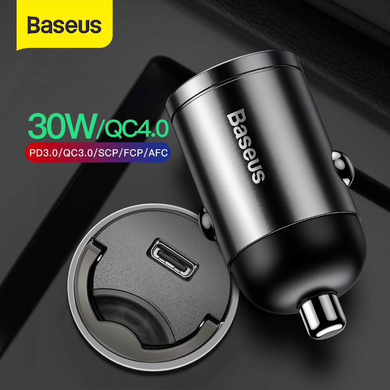 Baseus Mini Car Charger PD 3.0 Fast Charger For iPhone 11 Pro Max X Xs Xr 30W Car Phone Charger With Quick Charge 4.0 SCP AFC(China)