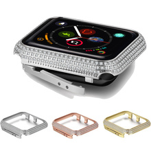 Sparkling Crystal Diamond case For apple watch series 5 4 3 2 1 metal bumper protector frame case cover For iwatch 44/40/42/38mm цена
