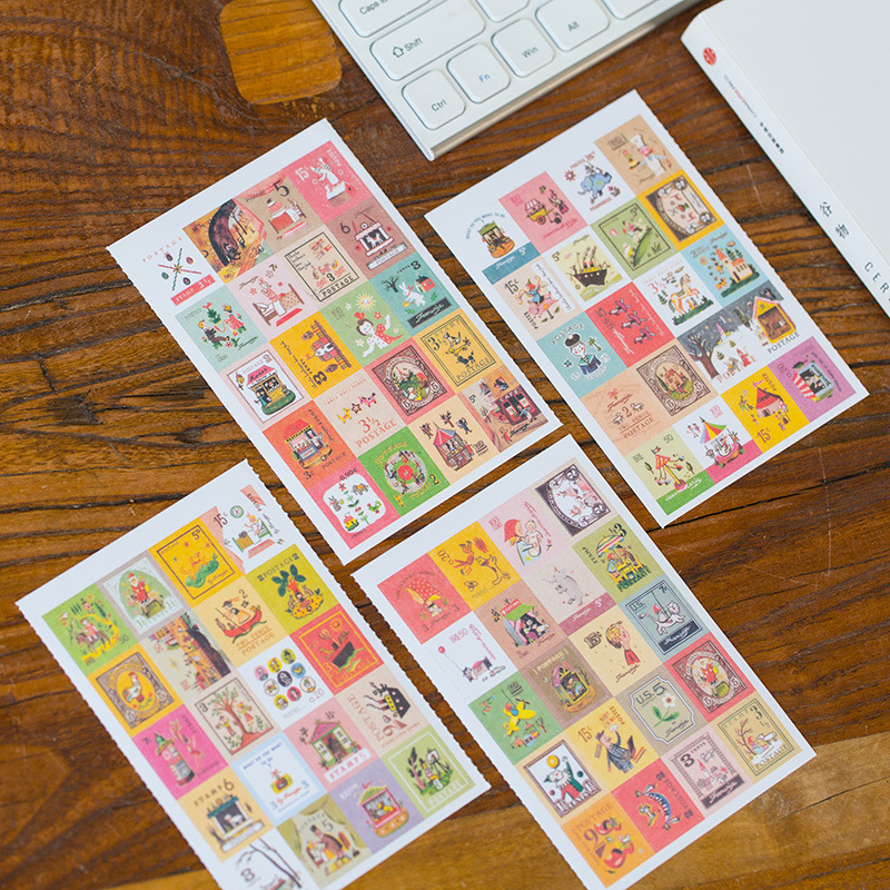 4 Sheets/lot Kawaii Cute Cartoon Korea Vintage Francoise Stamp Flakes Paper Stickers For Cards Kid Decoration Diary Scrapbooking