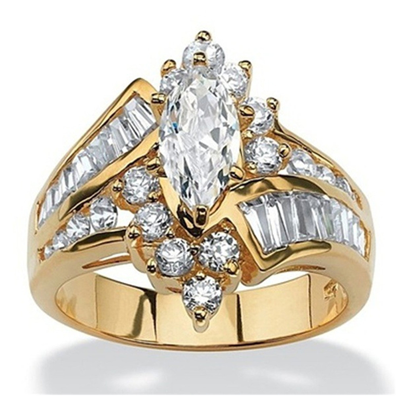 Classic Luxury Oval White CZ Gold Ring 1