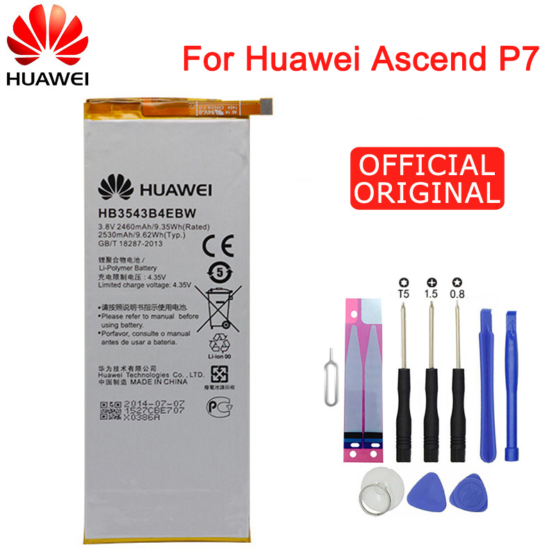 Hua Wei Original Phone Battery HB3543B4EBW for <font><b>Huawei</b></font> Ascend <font><b>P7</b></font> <font><b>L07</b></font> L09 L00 L10 L05 L11 2460mAh Replacement Batteries Free Tools image
