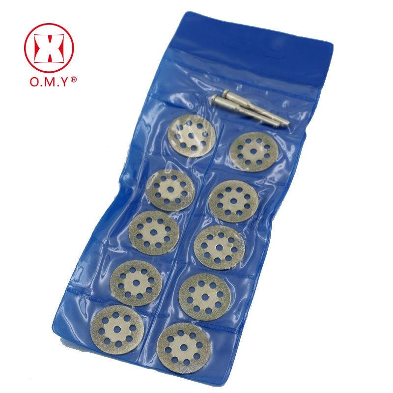 New Hot Sale 10Pcs 22mm Mini Sharp Diamond Cut Off Rotary Tool Cutting Disc DIY Tools Accessories For Dremel With 2Pcs Rod