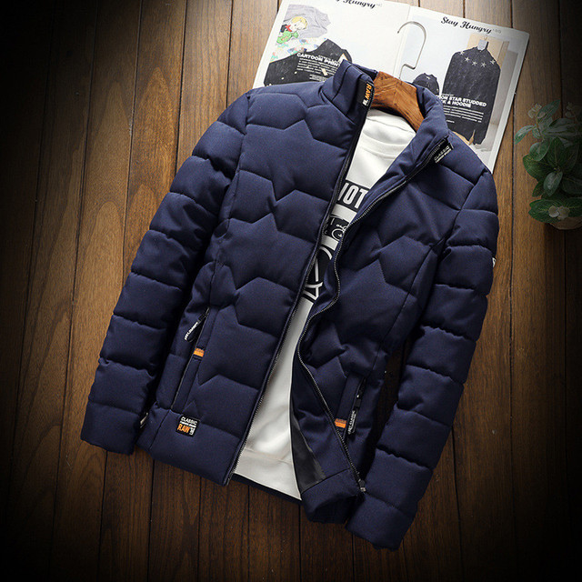 Autumn Winter Jacket Men Thicken Warm Cotton-padded Mens Jackets Slim Fit Stand Collar Youth Winter Jackets and Coats For Men 4
