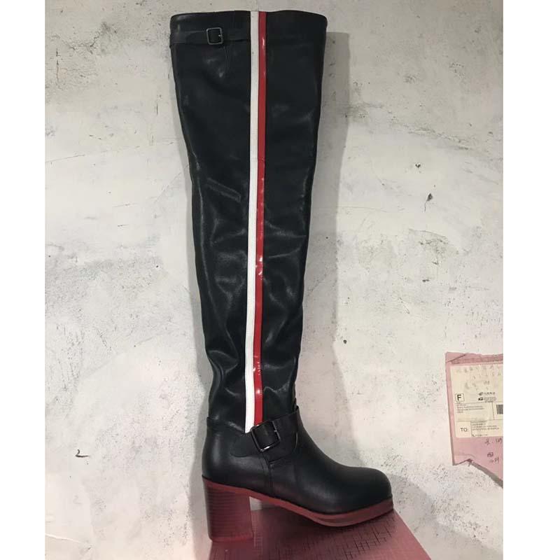 2019 bottes en cuir noir sur le genou femme couleur mixte boucle en métal bottes à talons hauts femme bottes de chevalier de mode-in Cuissardes from Chaussures    3