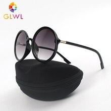 Sunglasses Vintage Women Round Glasses Frame Women's Sun Glasses Case Box Fashio