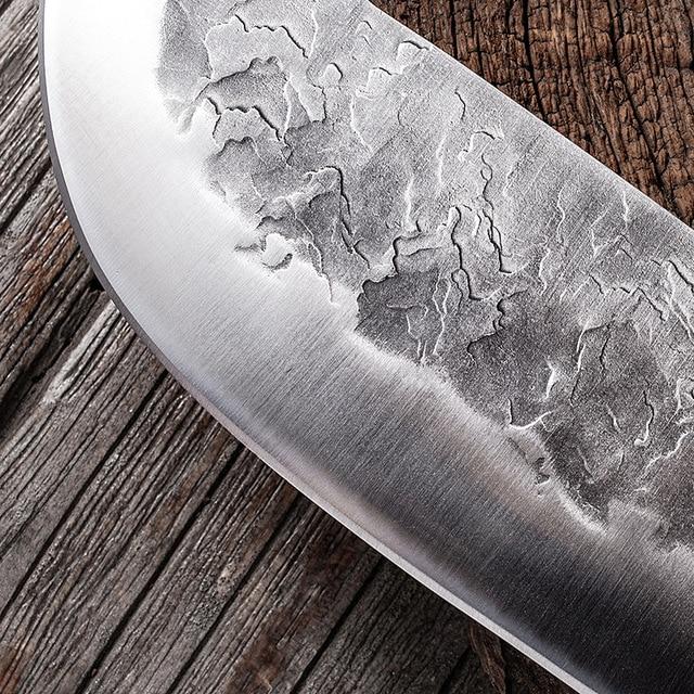 Cuchillo de cocina forjado hecho a mano de 7,6 pulgadas, carnicero, picar carne, Chef chino, acero inoxidable 5CR15 4