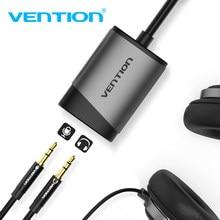Vention usb externo placa de som 3.5mm usb adaptador usb para microfone alto-falante interface de áudio para macbook computador portátil usb placa de som