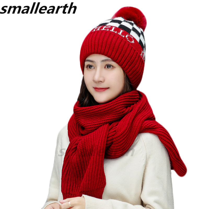 2019 New Warm Knitted Hat With Scarf Set Girl Plus Velvet Thick Hats Set Windproof Outdoor Snow Cap Collar Suit For Women Ladies