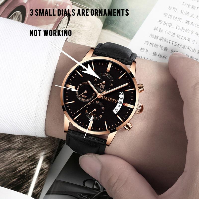 2019 relogio masculino watches men Fashion Sport Stainless Steel Case Leather Band watch Quartz Business Wristwatch reloj hombre 1