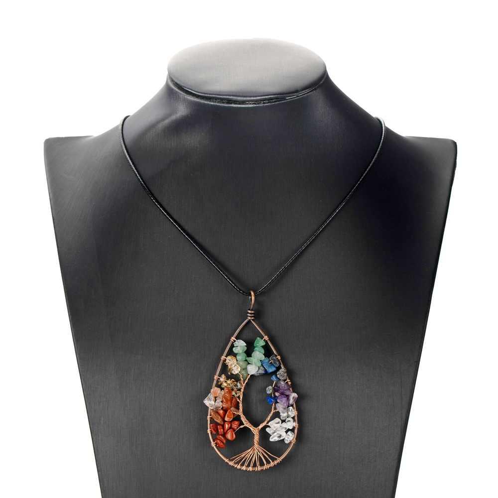 Colar de pingente de árvore de chip natural, artesanal, fio embutido, pedra de vida, colar, 7 chakra, cabo de couro preto, corrente de cura cristais