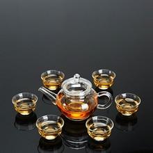 Service à thé théière en verre teaware tasse en verre torchon tasse à thé thé vert thé noir service à thé théière en verre Puer