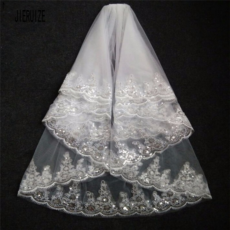 JIERUIZE Romantic Wedding Veil White Ivory Two Layer Lace Appliques Edged Short Bridal Veils With Comb Cheap