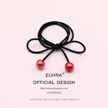 EUHRA Cherry Small Red Berries Acrylic Beads For Women Girls Elastic Hair Bands Kid Children Rubber Strong