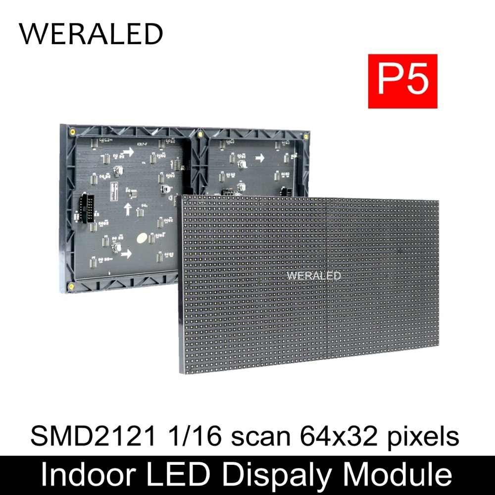 WERALED Venta caliente 64x32 píxeles 320x160mm negro lámpara LED P5 interior SMD2121 LED a todo Color módulo 1/16 escanear P5 LED Panel de visualización