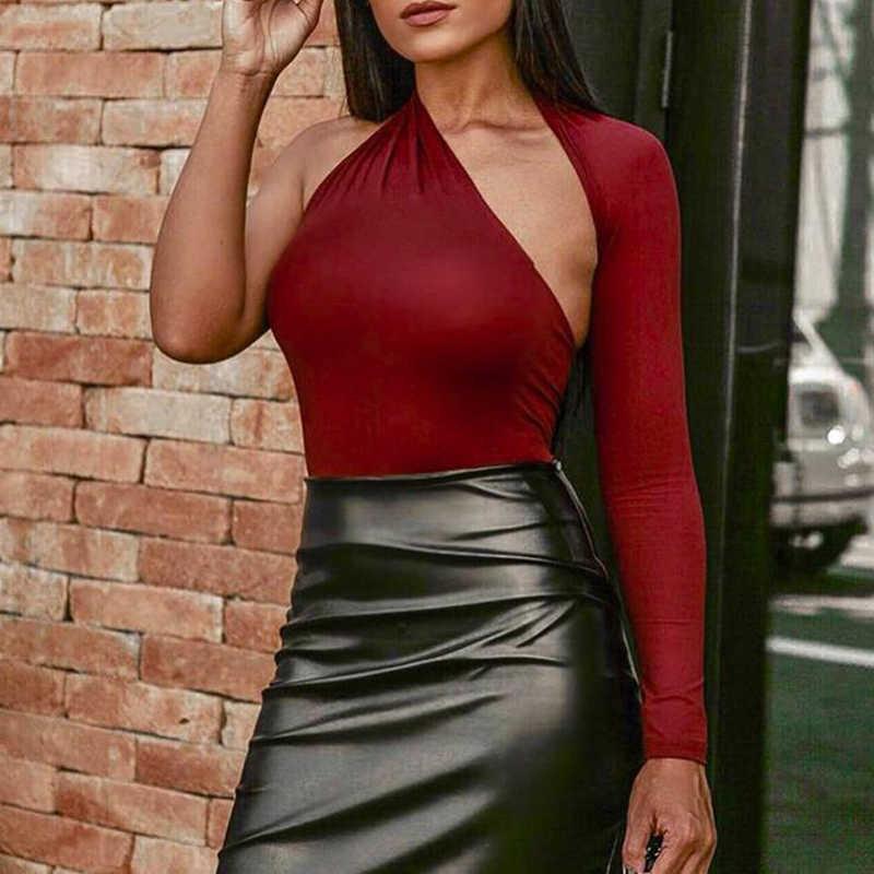 VGH-body asymétrique pour femmes, tenue Sexy, col irrégulier, manches longues, taille haute, Slim, court, mode, nouvelle collection été