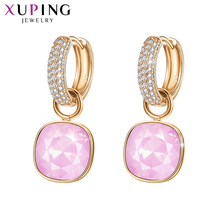 Biżuteria Xuping luksusowe wykwintne kryształy swarovskiego złota kolorowy platerowany kolczyki dla kobiet walentynki prezenty M65 203