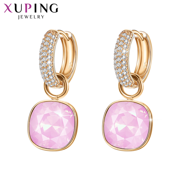 Xuping Jewelry Luxury Exquisite Crystals from Swarovski Gold Color Plated Earrings for Women Valentines Day Gifts M65 203
