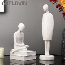 Estatua abstracta de resina de mesa para personas, esculturas de lectura, adornos modernos blancos para decoración del hogar, Vintage, gris, novedad de 2021