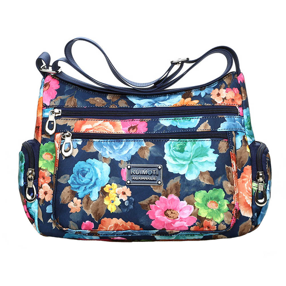 Women Rural Style Fashion Zipper Print Adjustable Buckle Vintage Shoulder Bag Large Capacity Casual Messenger Oxford Crossbody