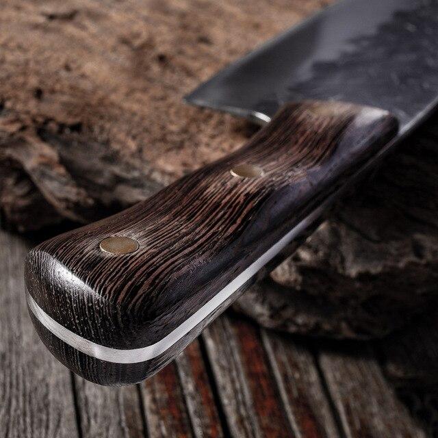 Cuchillo de cocina forjado hecho a mano de 7,6 pulgadas, carnicero, picar carne, Chef chino, acero inoxidable 5CR15 3