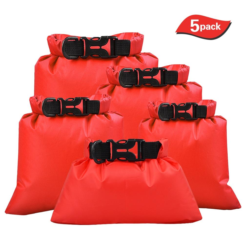 5 Pcs Outdoor Waterproof Storage Bags Swimming Bag Dry Sacks Smartphone Camera Bags For Drifting Water Sports Polyester Taffeta