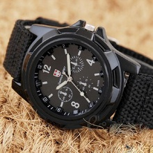 Gemius Army Racing Force Woven Military watch Sport Mens Fabric Band Watch White watch men mechanical zegarek mechaniczny relogi