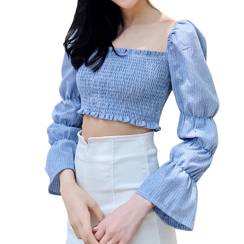 Women Blouses Striped Square Collar Shirts Pleated Slimming Lantern Long Sleeve Camiseta Top One Size Vetements Femmes 8