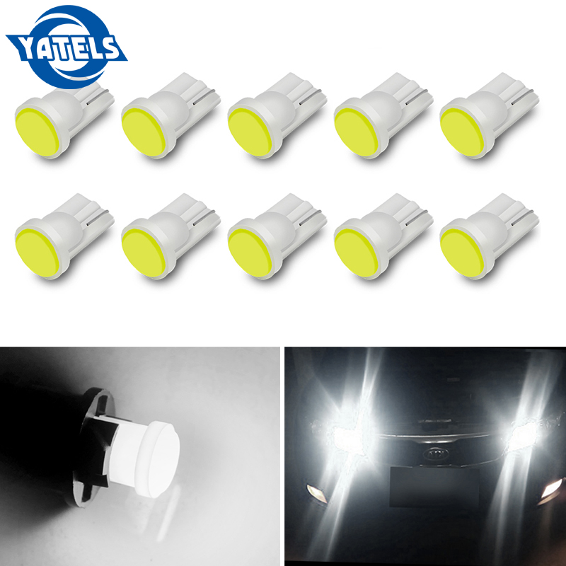 10 PCS Fashion Car Interior Light LED T10 COB 8SMD W5W Wedge Door Instrument Side Bulb Headlight Blue / White / Red / Powder 12V