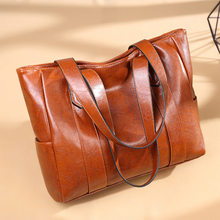 Large Women Bag Fashion New Ladies Messenger Handbag Oil Wax Leather Shoulder Bags Business Lady Crossbody Tote Vintage Hand Bag(China)