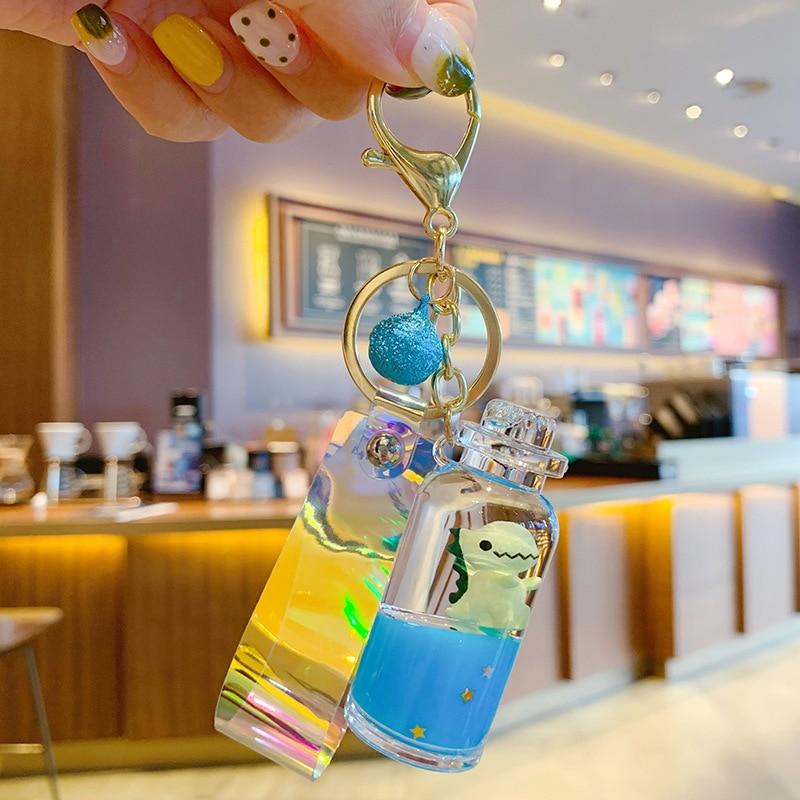 Hot Moving Liquid Keychain Cute Dinosaur Quicksand Bottle Keychains Bag Keyring Car Keychains Trinket Lovely Car Hanging Gifts