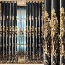 Итальянский бархат шторы для спальни Европейского вышитые окна гостиной и балкон готовых
