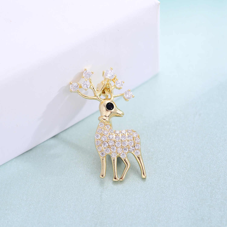 สีชมพูน่ารักสีขาว Zircon กวางเข็มกลัดสำหรับผู้หญิงสีทองแดงคริสต์มาส Reindeer เข็มกลัด Pins เสื้อผ้าแฟชั่นเครื่องประดับของขวัญ