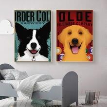 Животное украшение для дома холст живопись собака золотой ретривер