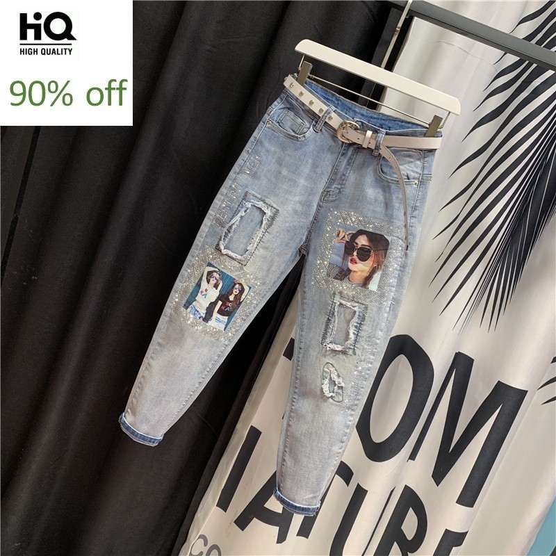 Harajuku Women High Waist Jeans Harem Pants Hole Ripped Printed Denim Hip Hop Casual Pants Streetwear Trousers Female Jeans