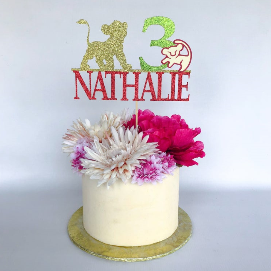 Brilliant Personalise Name Age Glitter Lion King Cake Topper Lion King Funny Birthday Cards Online Fluifree Goldxyz