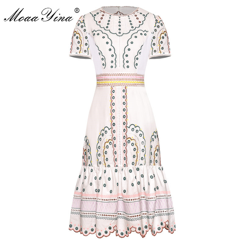 MoaaYina Fashion Runway Dress Spring Summer Women's Dress Short Sleeve Hollow Out Embroidery Vintage Dresses