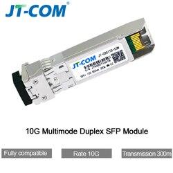 SFP Module 10Gb 300M LC Duplex Multimodo Duplex para SFP-10G-SR SFP + Módulo de transceptor de fibra óptica MMF 850nm 300M para Ubiquiti Mikrotik Cisco etc.